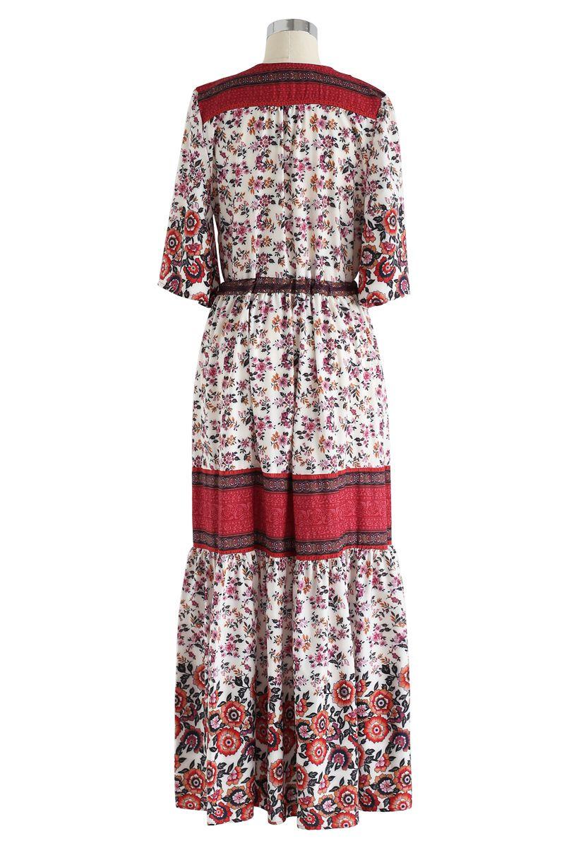 Floral Boho Drawstring Button Down Maxi Dress