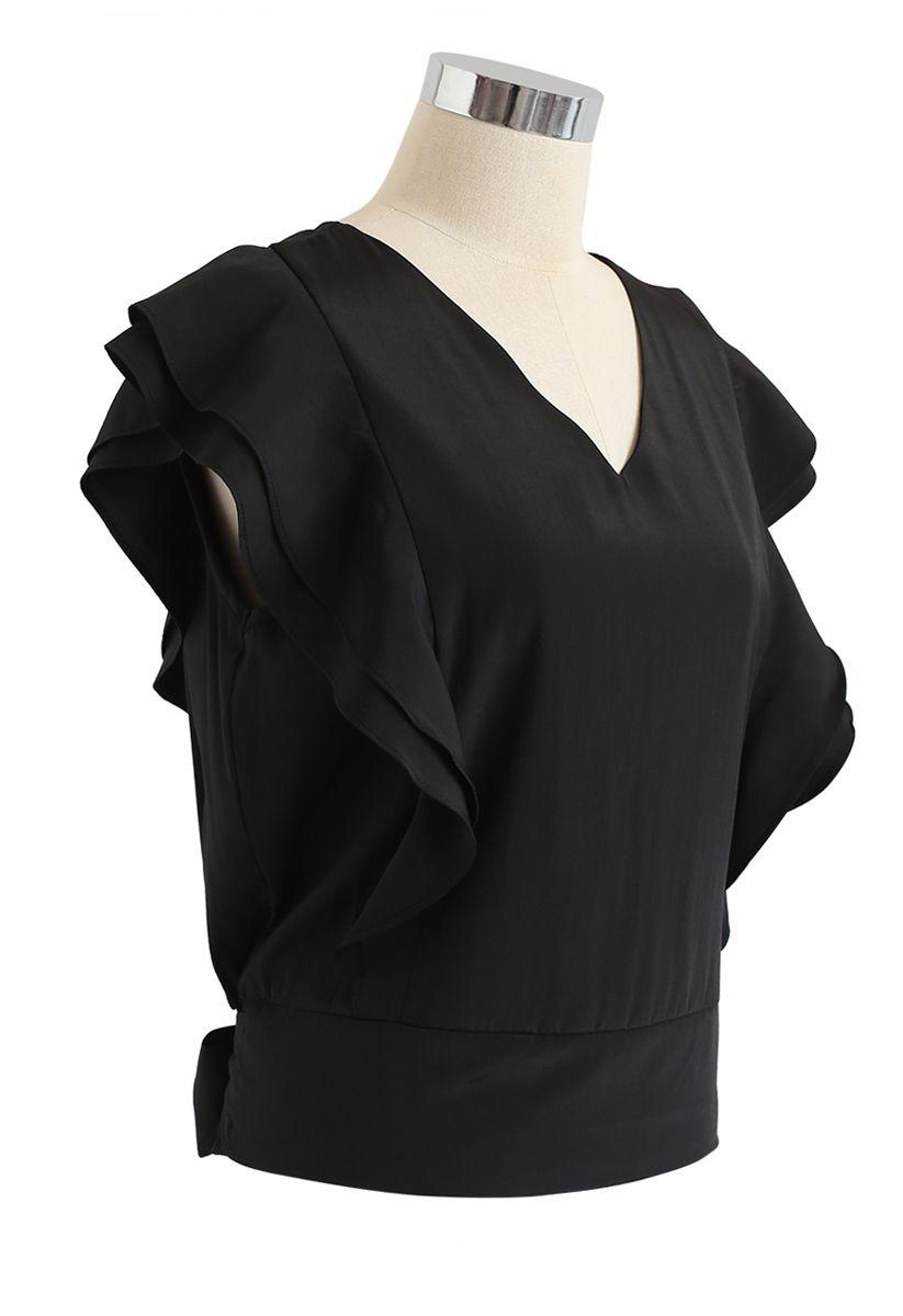 Bowknot Waist Sleeveless Ruffle Top in Black