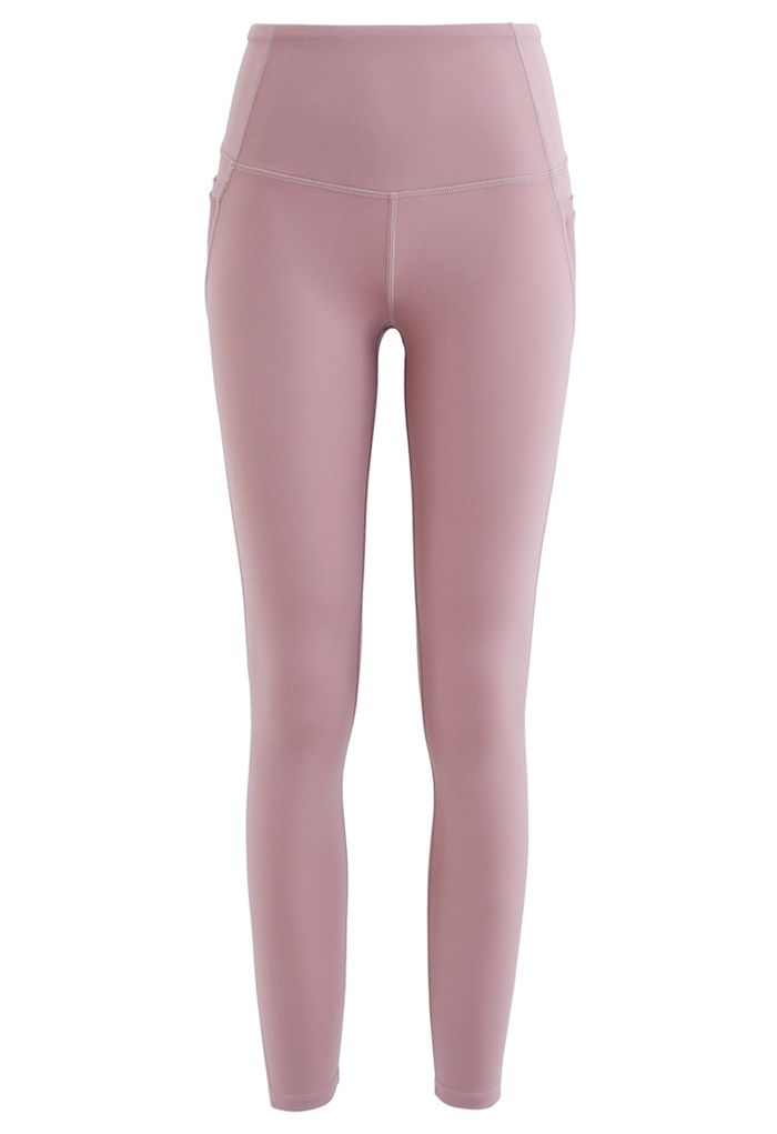 Mesh Pockets High Rise Seam Detail Ankle-Length Leggings in Dusty Pink