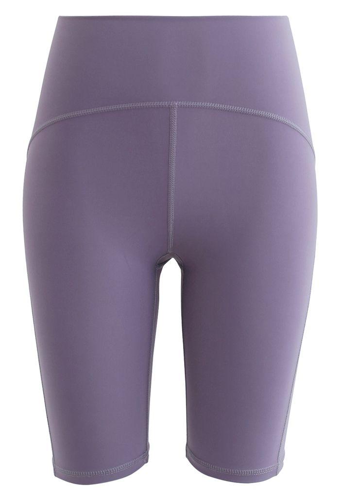 Seam Detail High-Waisted Sculpt Legging Shorts in Lavender