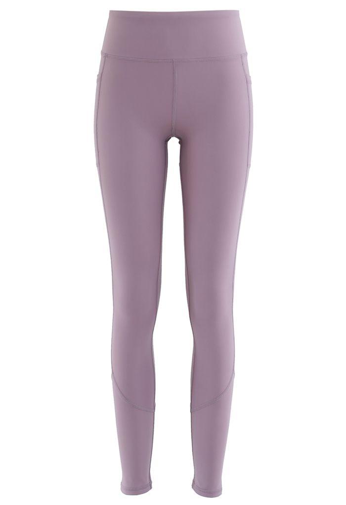 Side Pockets Seam Detail Ankle-Length Leggings in Purple