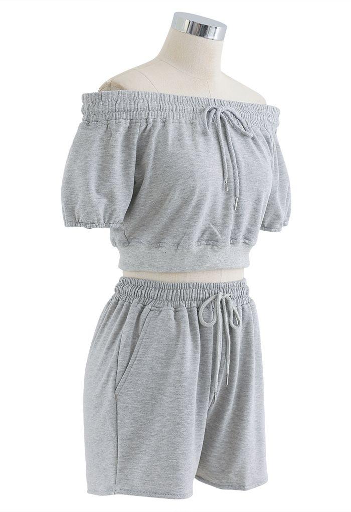 Drawstring Off-Shoulder Crop Top and Shorts Set in Grey