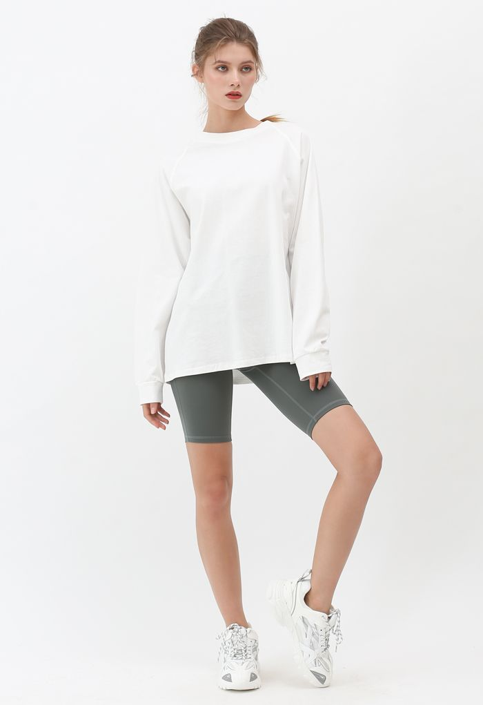 Seam Detail High-Waisted Sculpt Legging Shorts in Olive