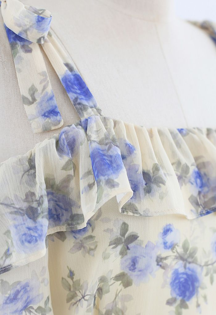 Cold-Shoulder Floral Ruffle Chiffon Midi Dress