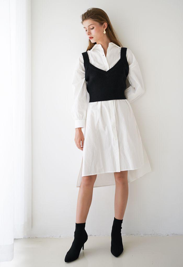 V-Neck Crop Knit Tank Top in Black