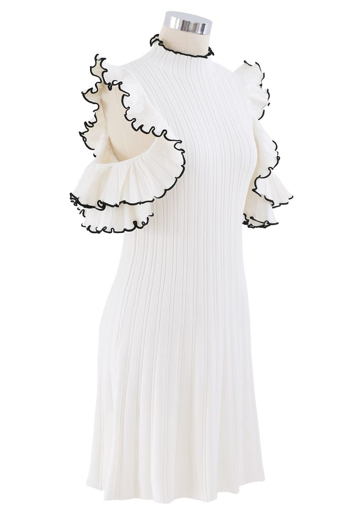 Ruffle Cold Shoulder Ribbed Knit Dress in White