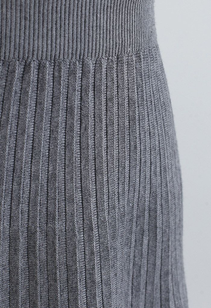Lace Trim Pleated Knit Midi Skirt in Grey