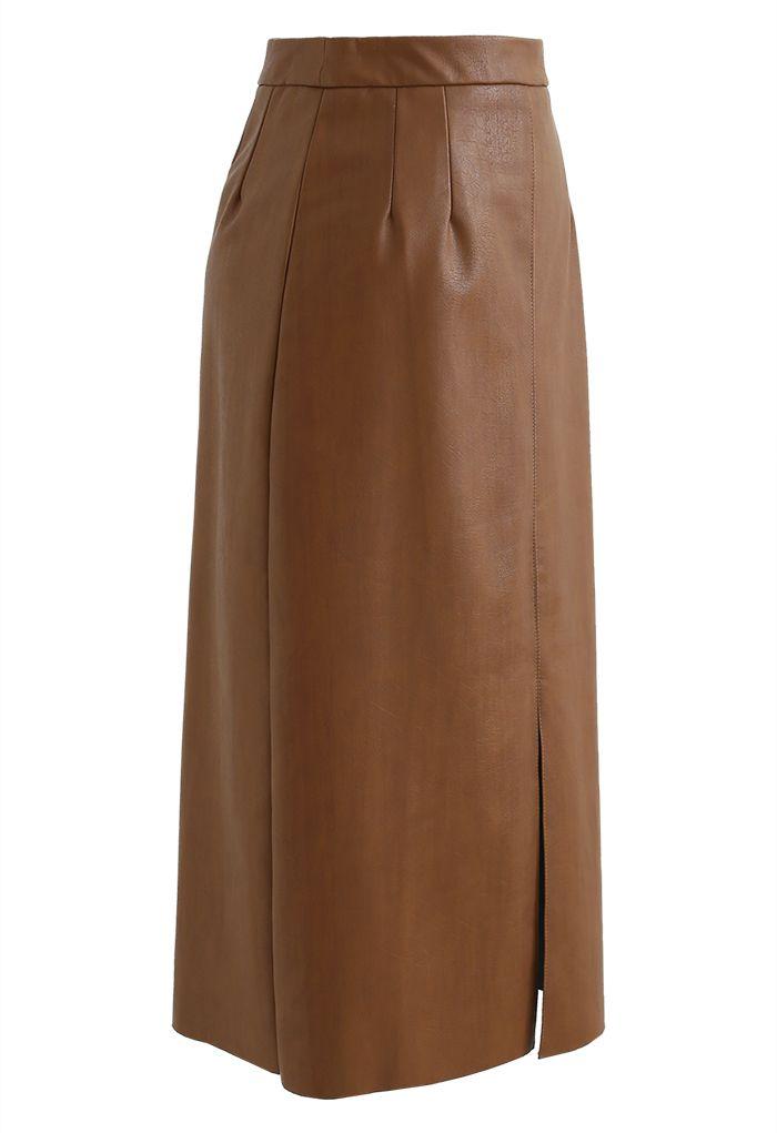 Vent Hem Faux Leather Pencil Skirt in Caramel