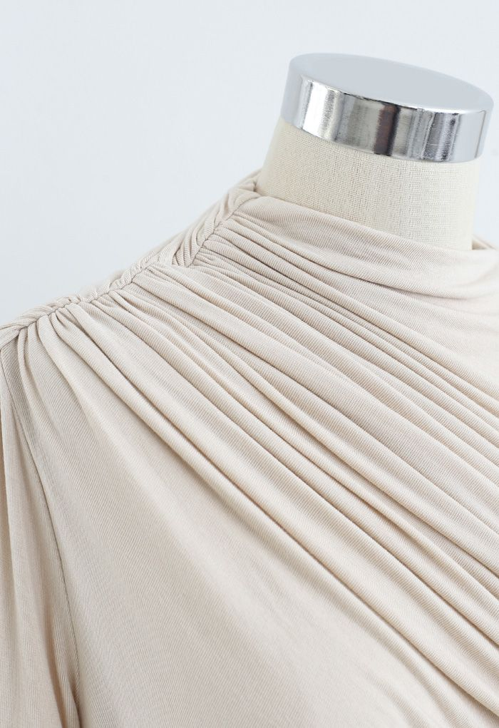 Ruched Long Sleeves Top in Cream