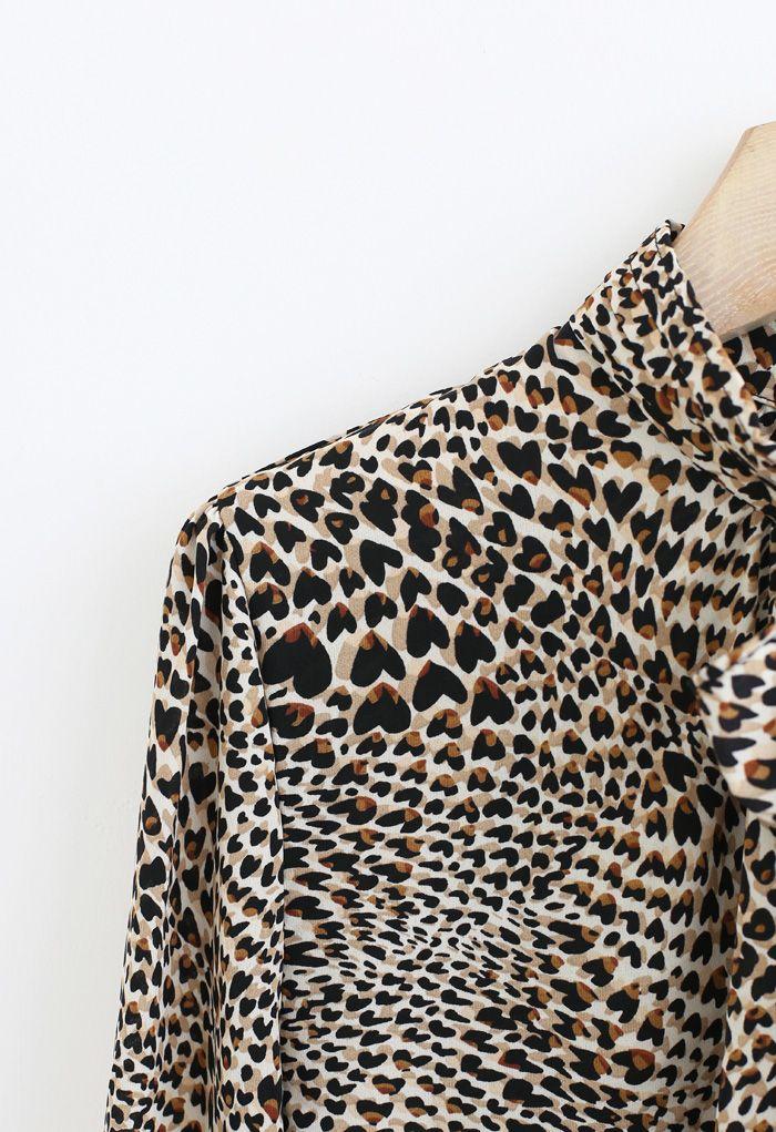 Bowknot Leopard Print Chiffon Shirt