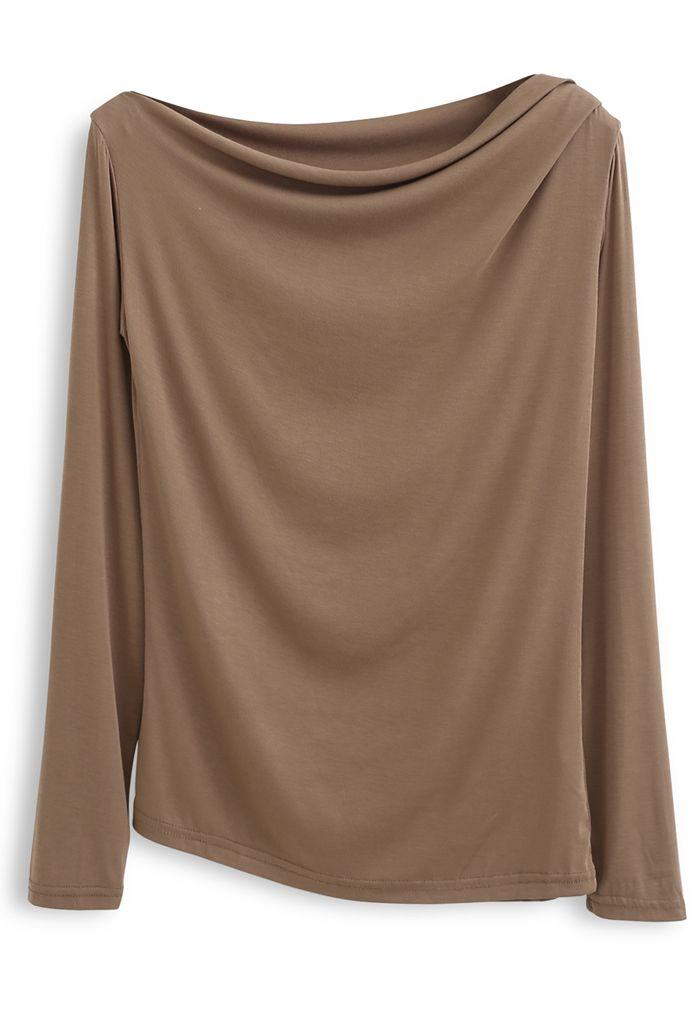 Drape Neck Long Sleeves Top in Camel