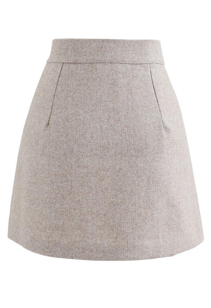 Button Flap Wool-Blended Mini Skirt in Light Tan