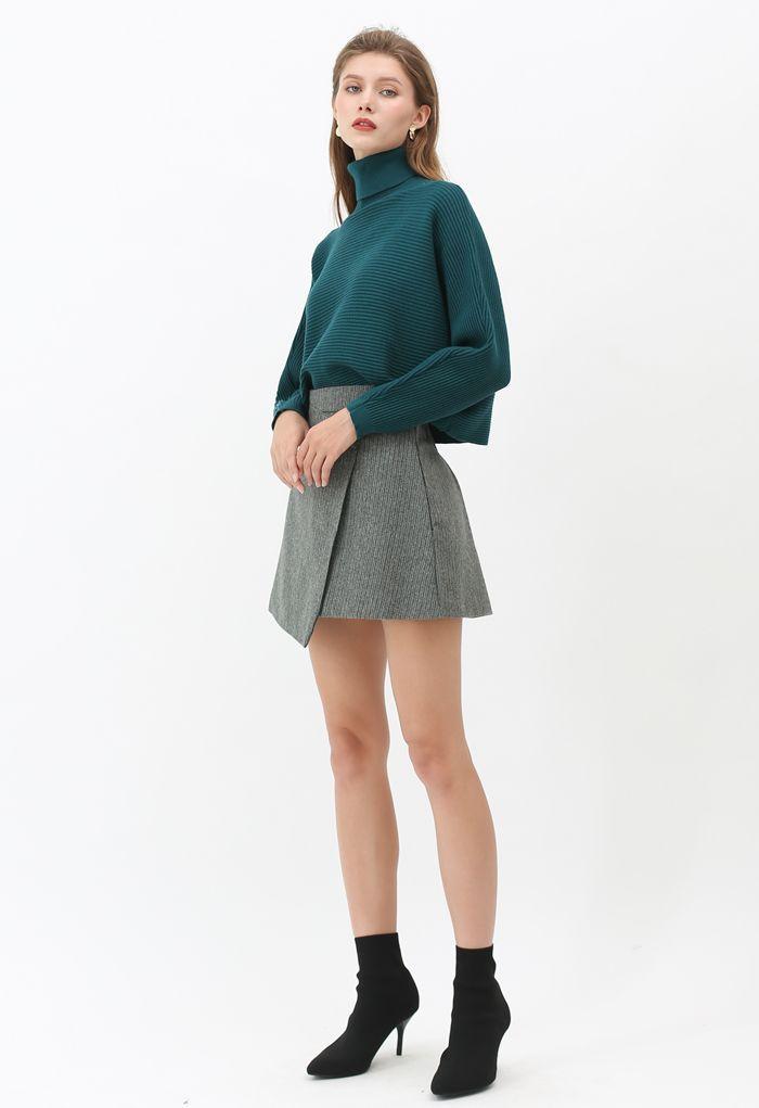 Basic Rib Knit Cowl Neck Crop Sweater in Dark Green