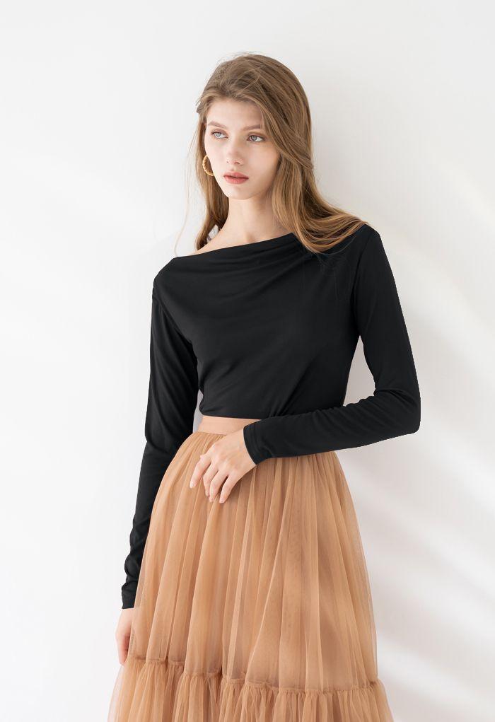 Drape Neck Long Sleeves Top in Black