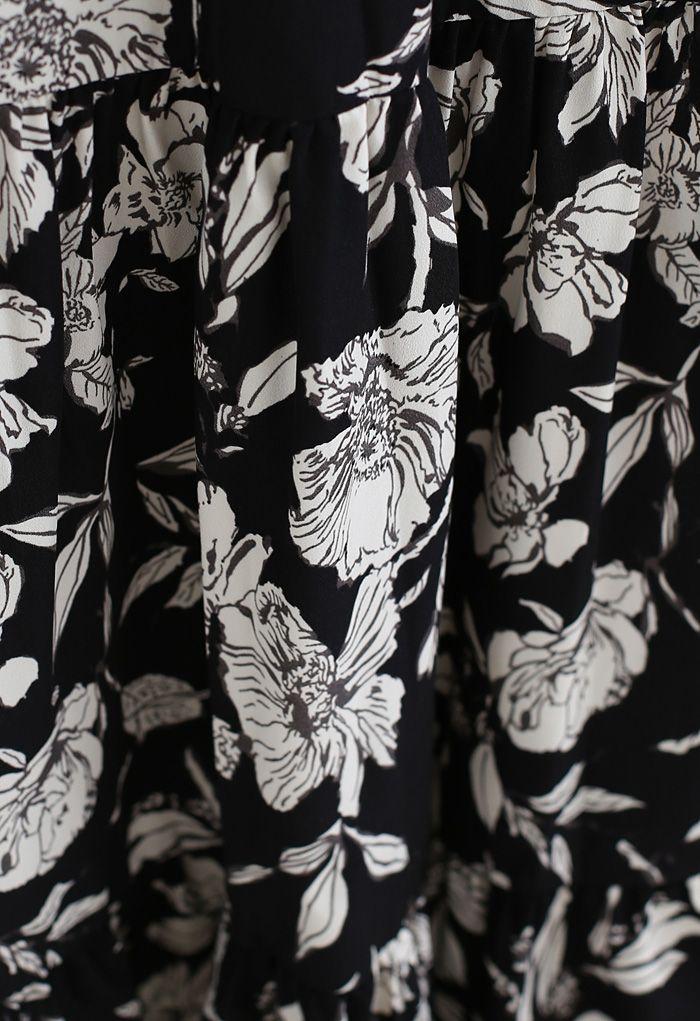 Floral Print Wrap Ruffle Maxi Dress in Black