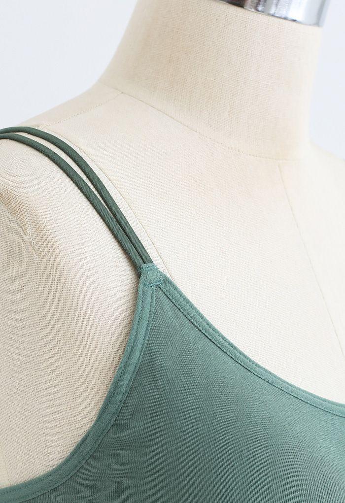 Double Straps Crisscross Back Bra Top in Green