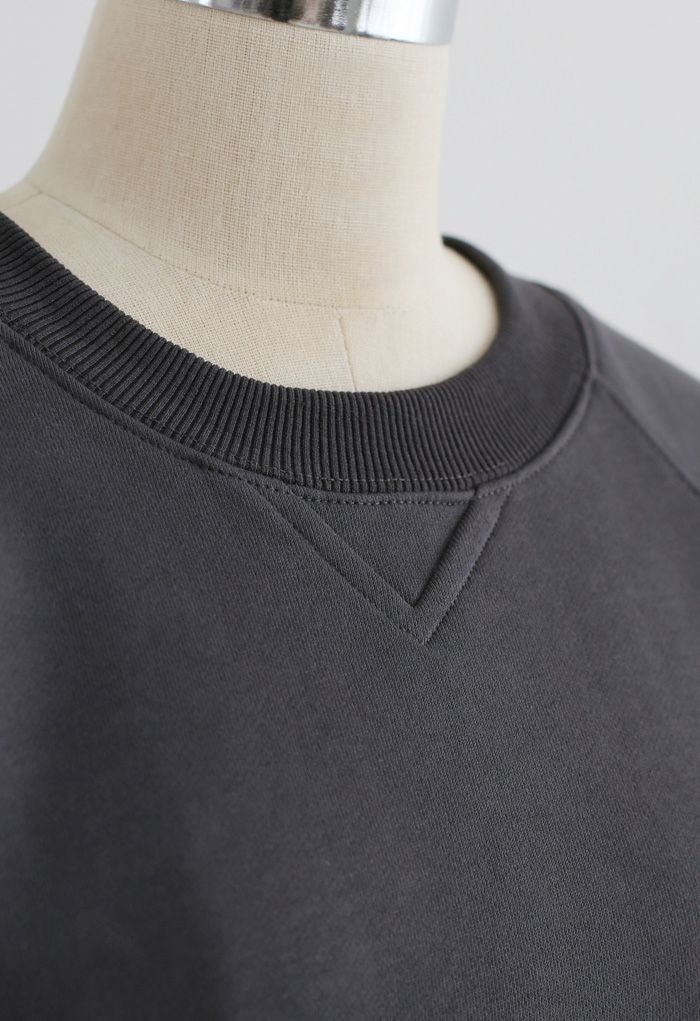 Open Back Sweatshirt Dress in Smoke