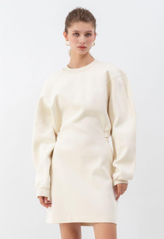 Open Back Sweatshirt Dress in Cream