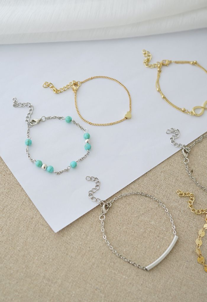 8 Packs Gold and Silver Chain Bracelets