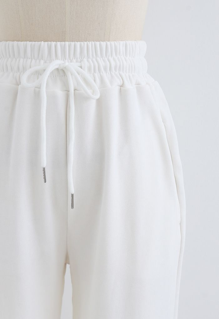Drawstring Tapered Joggers in White