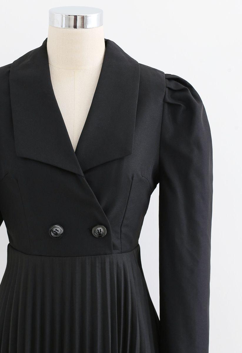 Asymmetric Pleated Buttoned Blazer Dress in Grey