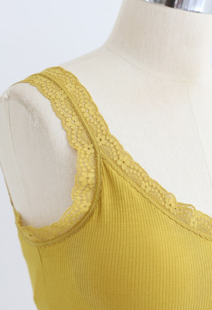 Lace Straps Tank Top in Yellow