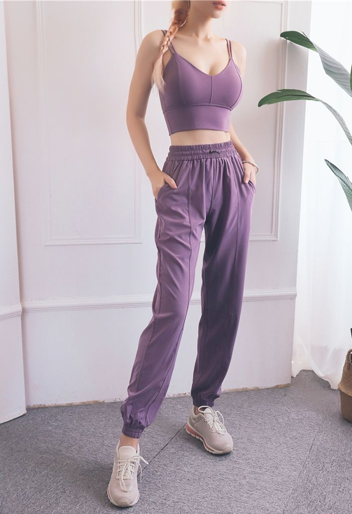 Drawstring Pockets Tapered Joggers in Purple