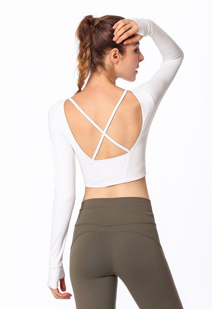 Crisscross Straps Crop Top in White