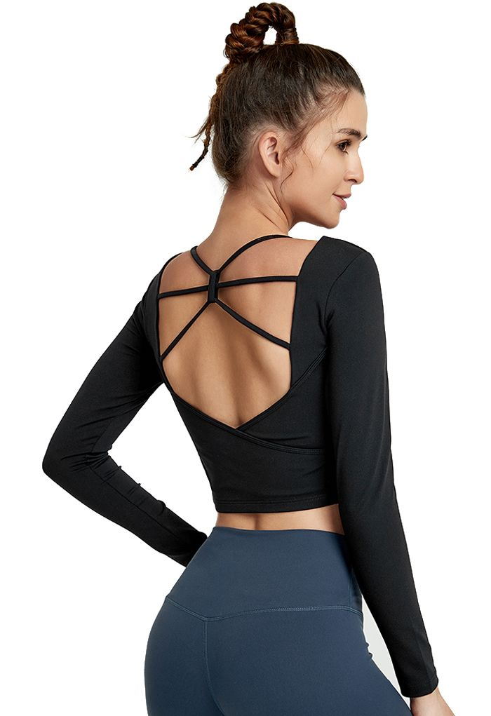 Crisscross Backless Crop Top in Black