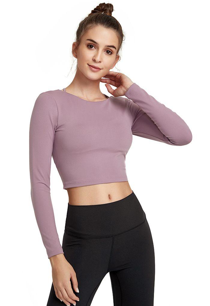Crisscross Backless Crop Top in Purple