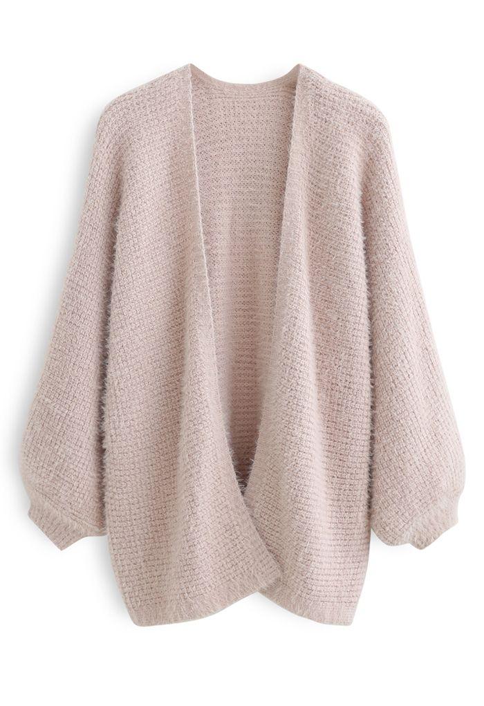 Fuzzy Open Front Waffle Knit Cardigan in Dusty Pink