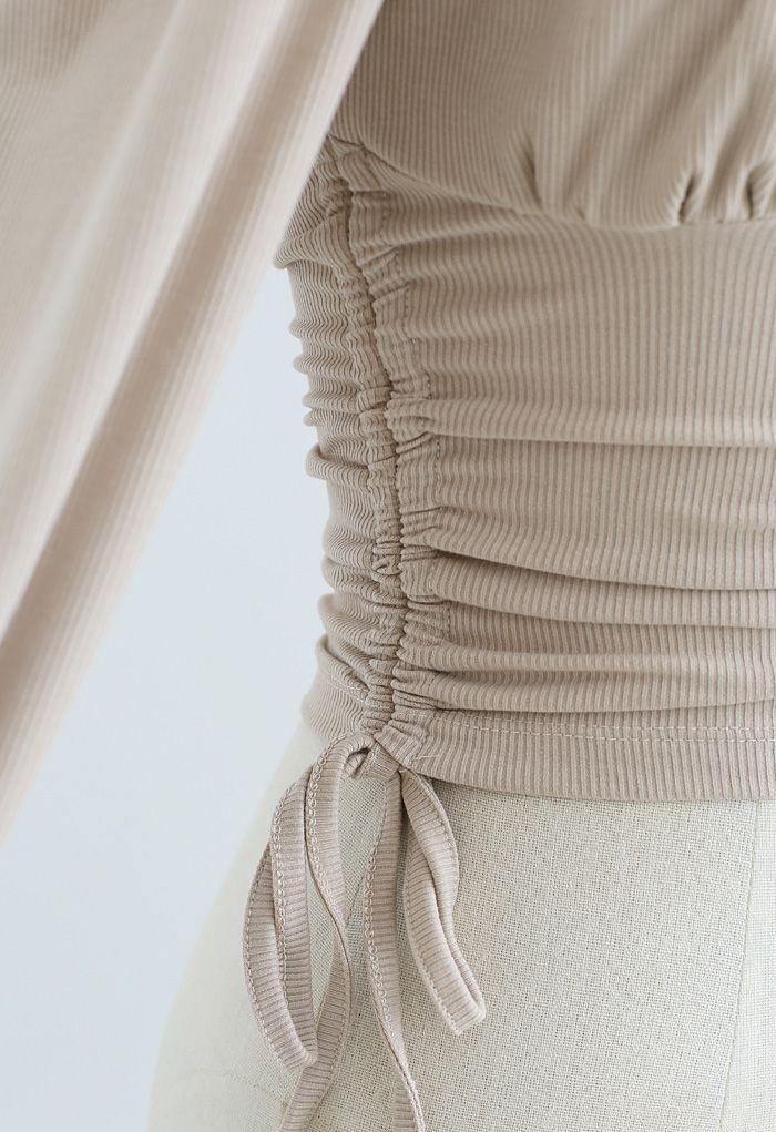 Side Drawstring Sweetheart Neck Crop Top in Tan