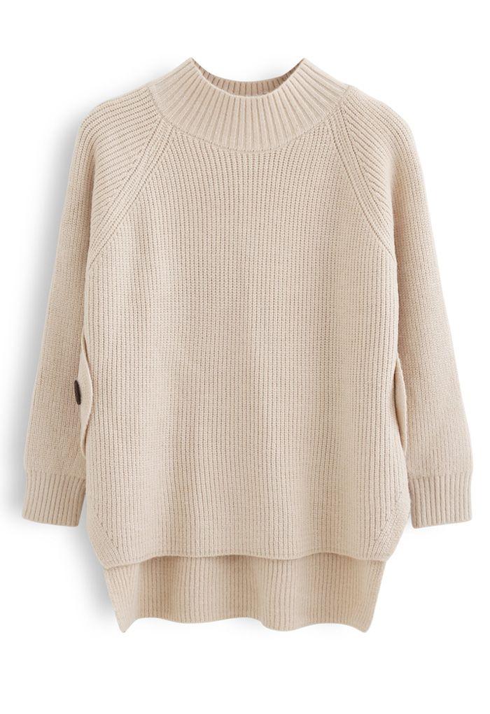 Button Side Hi-Lo Knit Sweater in Light Tan