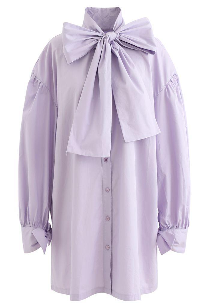 Bowknot Button Down Tunic Shirt Dress in Purple