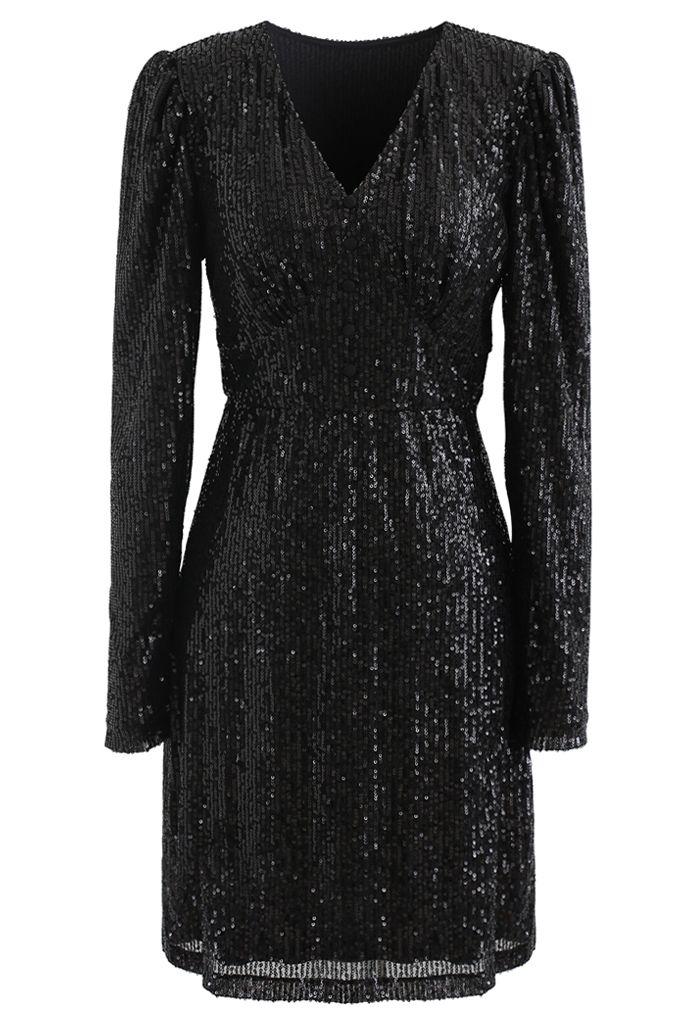 Shimmer Sequin Padded Shoulder Mesh Dress in Black