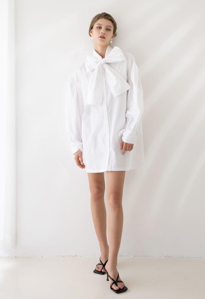 Bowknot Button Down Tunic Shirt Dress in White