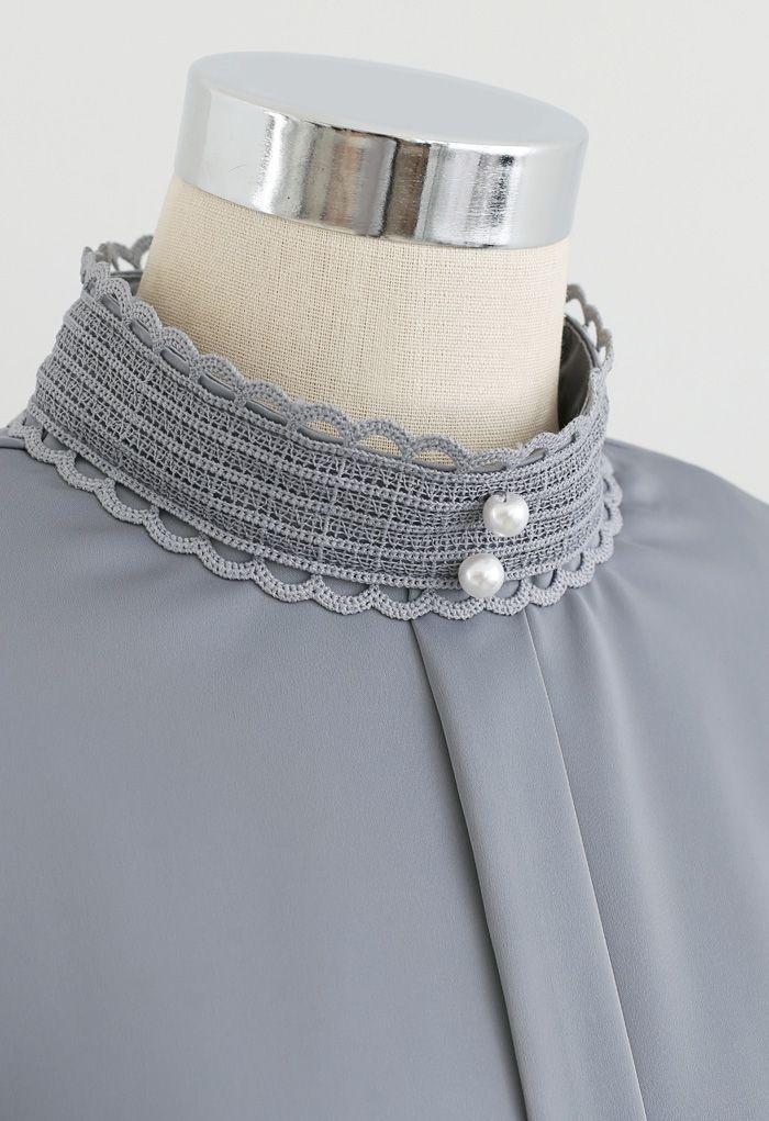 Satin Pearl Crochet Mock Neck Top in Grey