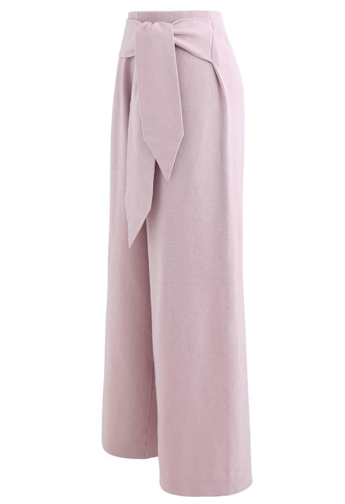Self-Tie Waist Knit Wide-Leg Pants in Pink