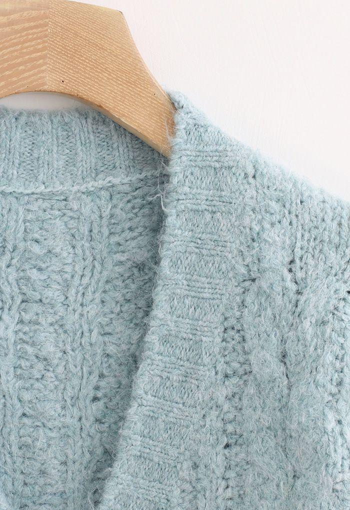 V-Neck Fuzzy Knit Crop Cardigan in Mint