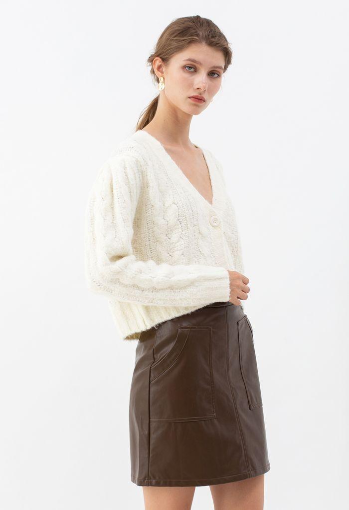V-Neck Fuzzy Knit Crop Cardigan in Ivory