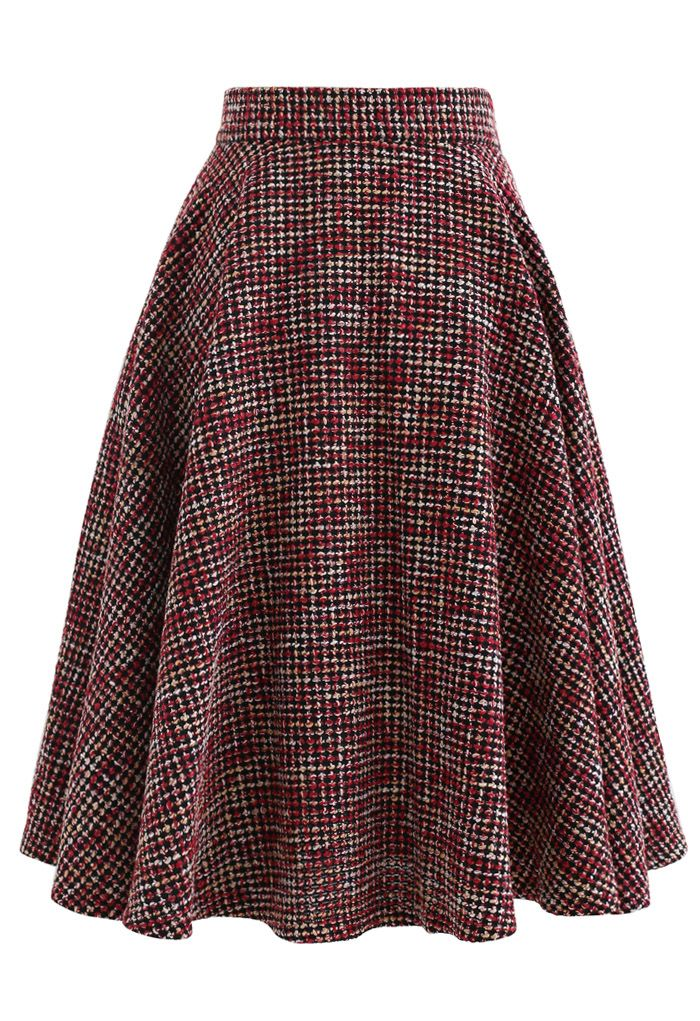 A-Line Tweed Skirt in Red