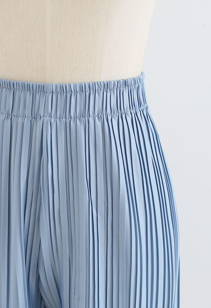 Full Pleated Two-Piece Shorts and Pants in Blue