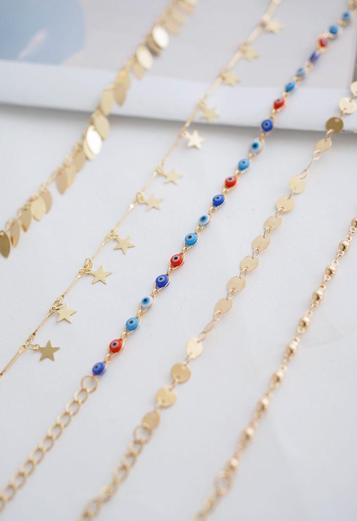 5 Packs Leaf Star and Beads Chain Bracelets
