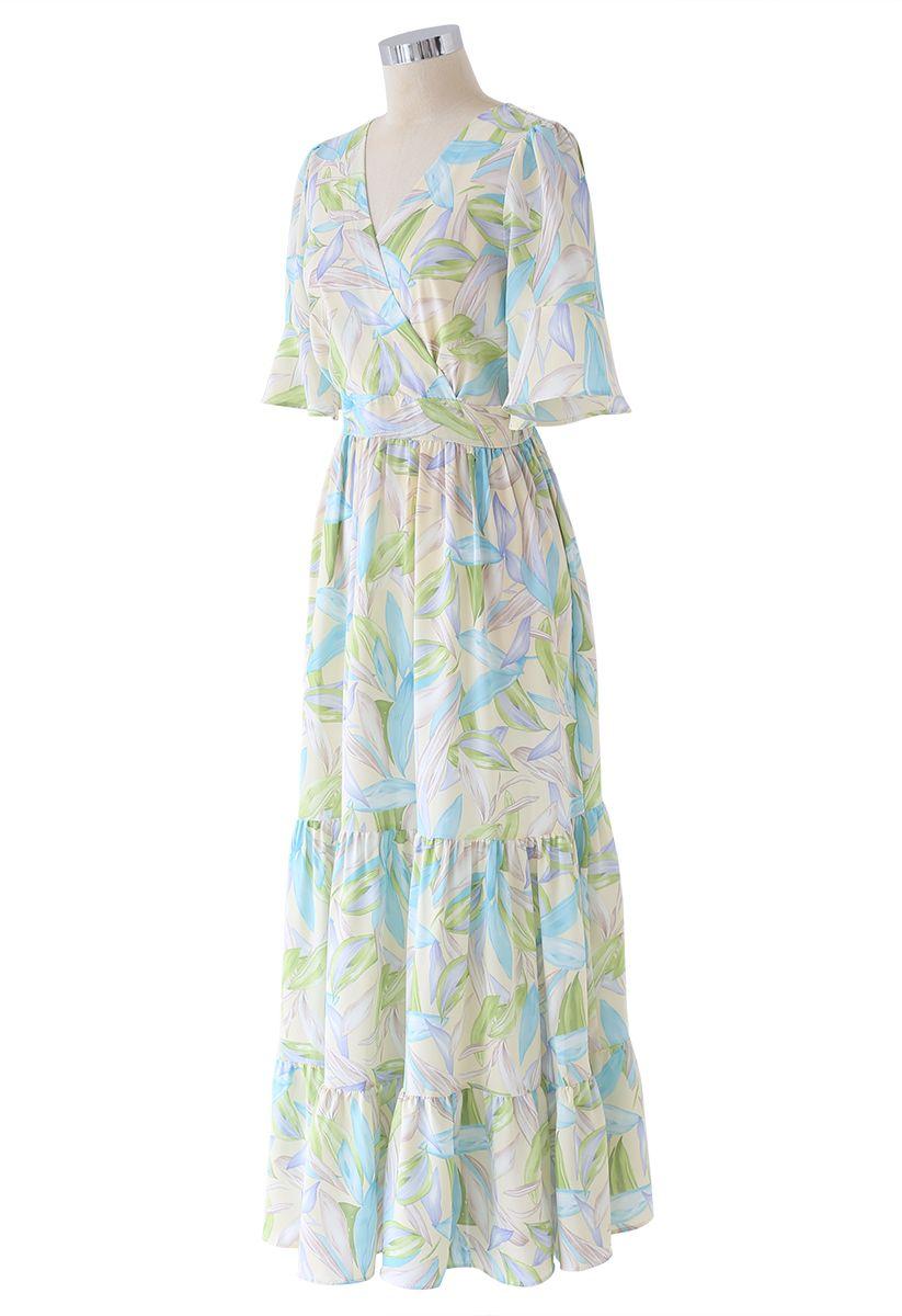 Multicolor Leaves Print Frill Hem Wrap Maxi Dress