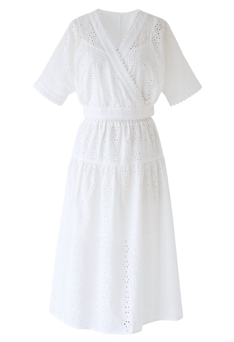 Eyelet Embroidery Batwing Sleeves Crop Top and Skirt Set in White