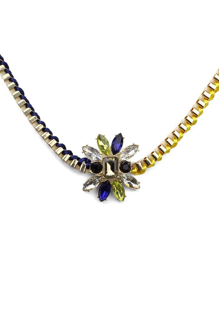 Chain Knit Mix Jewel Necklace
