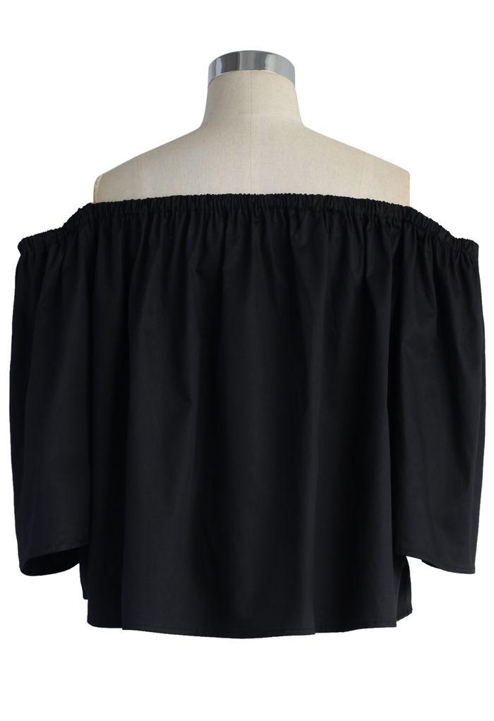Delight Moment Off-shoulder Top in Black