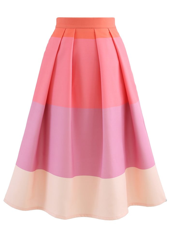 Lollipops Color Block Printed Midi Skirt