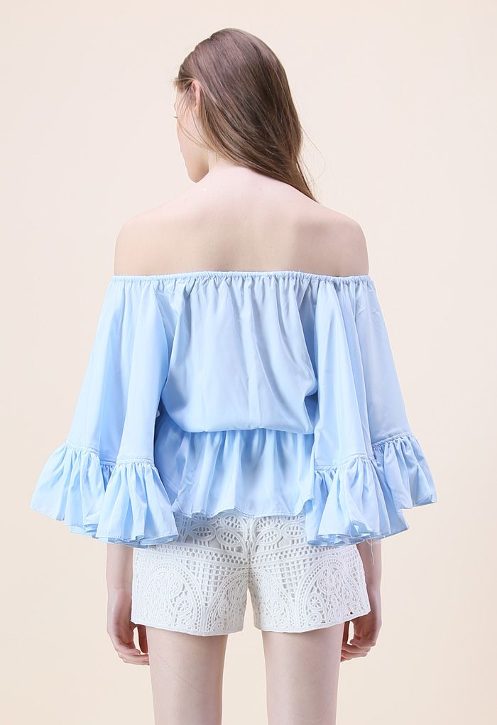 For the Frill of It Off-shoulder Top in Blue