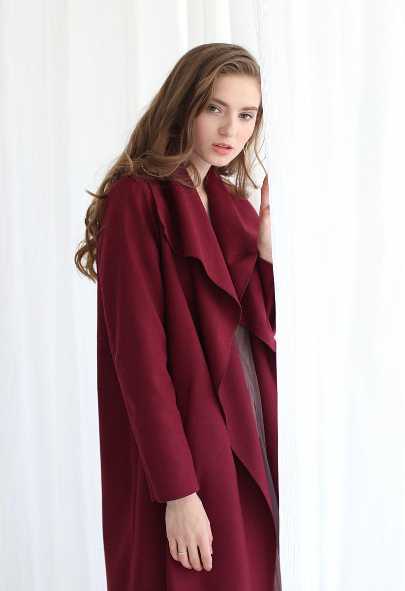Free Myself Open Front Wool-Blend Coat in Wine